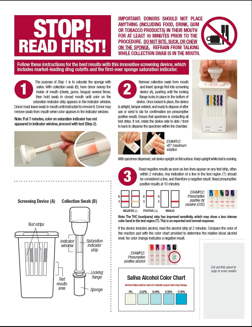 drug check saliva scan instructions